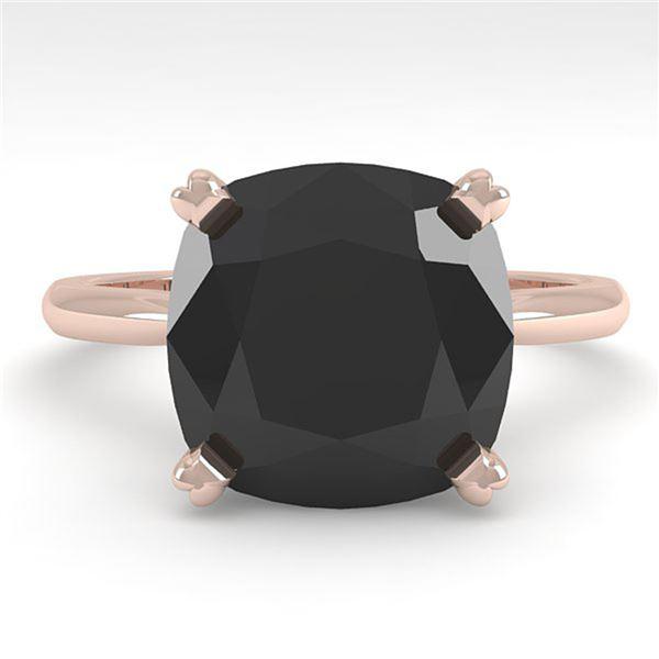 6.0 ctw Cushion Black Diamond Engagment Designer Ring 18k Rose Gold - REF-133X8A