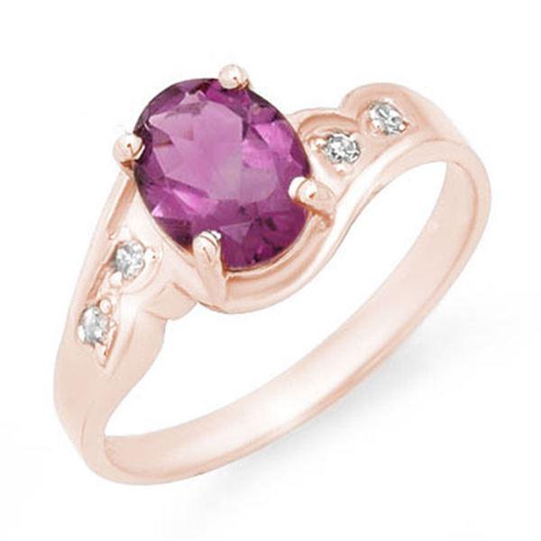 1.26 ctw Amethyst & Diamond Ring 18k Rose Gold - REF-24N5F
