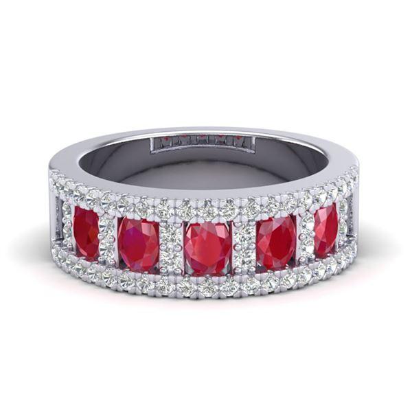 2.34 ctw Ruby & Micro Pave VS/SI Diamond Designer Ring 10k White Gold - REF-55A2N