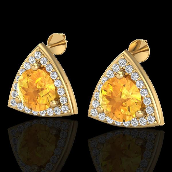 3 ctw Citrine & Micro Pave VS/SI Diamond Stud Earrings 18k Yellow Gold - REF-48K6Y