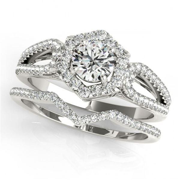 1.07 ctw Certified VS/SI Diamond 2pc Wedding Set Halo 14k White Gold - REF-106K5Y