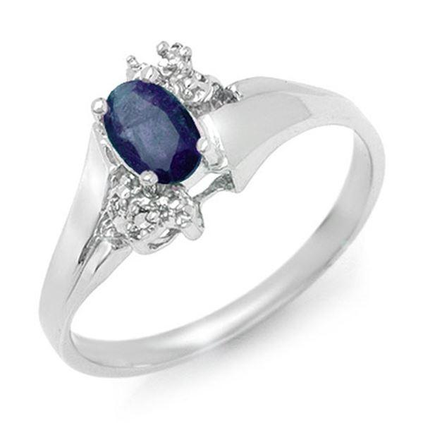 0.77 ctw Blue Sapphire & Diamond Ring 10k White Gold - REF-11K3Y