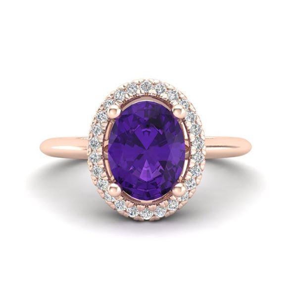 1.75 ctw Amethyst & Micro VS/SI Diamond Ring Halo 14k Rose Gold - REF-30K2Y