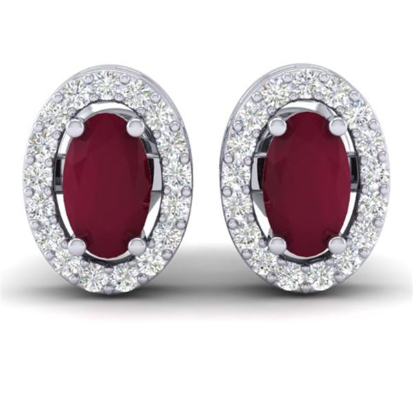 1.02 ctw Ruby & Micro Pave VS/SI Diamond Earrings 18k White Gold - REF-24M5G