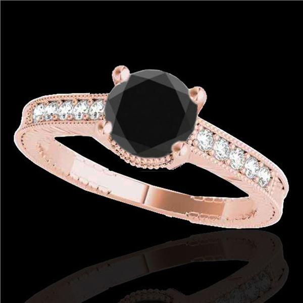 1.45 ctw Certified VS Black Diamond Solitaire Antique Ring 10k Rose Gold - REF-39K5Y