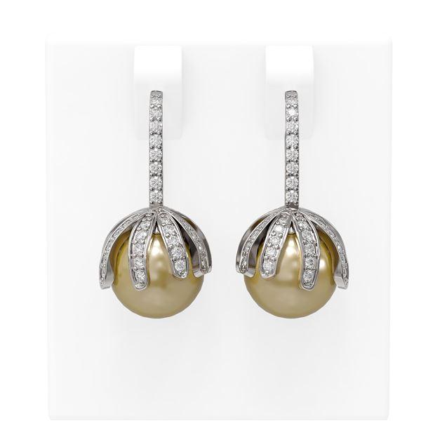 1.5 ctw Diamond & Pearl Earrings 18K White Gold - REF-155N3F
