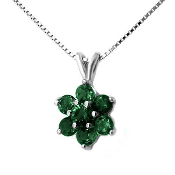 0.75 ctw Emerald Pendant 10k White Gold - REF-9K3Y