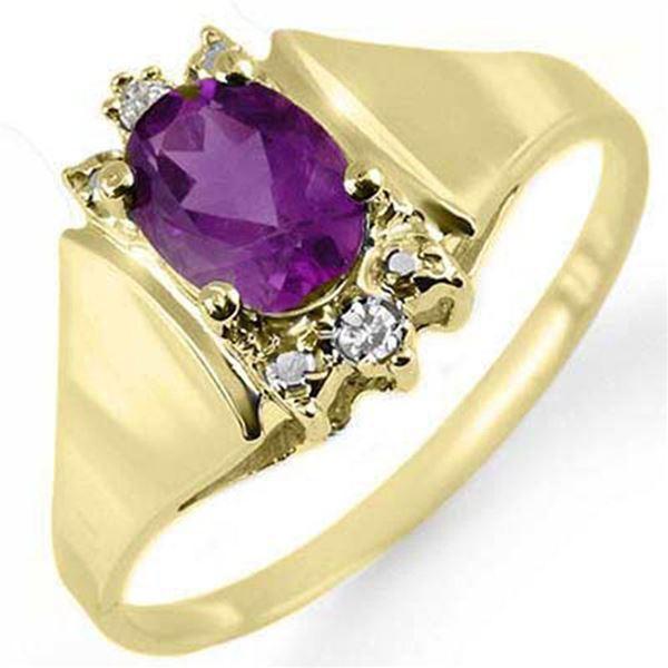 0.78 ctw Amethyst & Diamond Ring 10k Yellow Gold - REF-10F8M