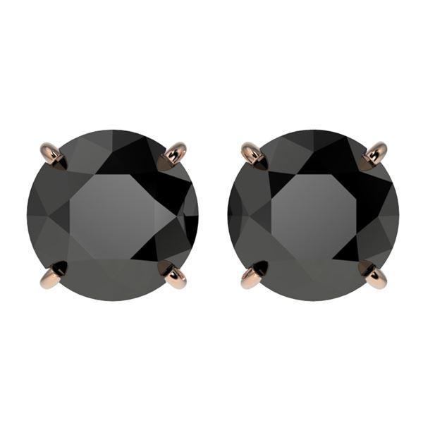 3.18 ctw Fancy Black Diamond Solitaire Stud Earrings 10k Rose Gold - REF-60X3A