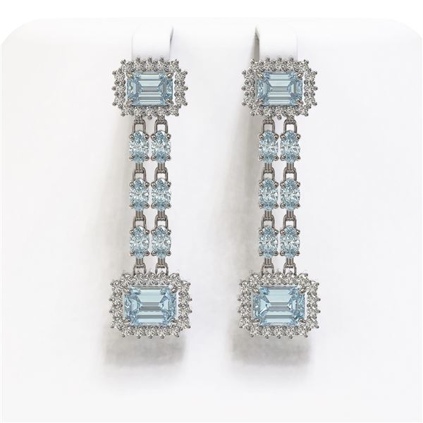 11.04 ctw Sky Topaz & Diamond Earrings 14K White Gold - REF-190M9G