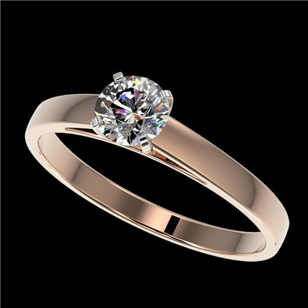 0.53 ctw Certified Quality Diamond Engagment Ring 10k Rose Gold - REF-37X6A
