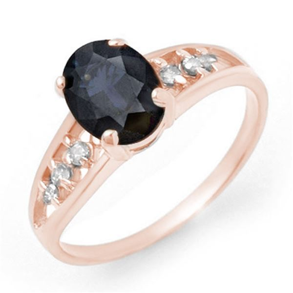 1.60 ctw Blue Sapphire & Diamond Ring 14k Rose Gold - REF-19M3G