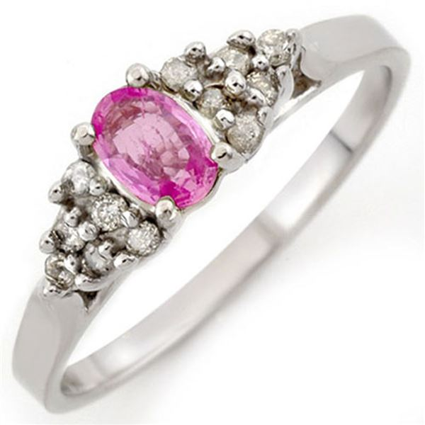0.74 ctw Pink Sapphire & Diamond Ring 10k White Gold - REF-16H5R