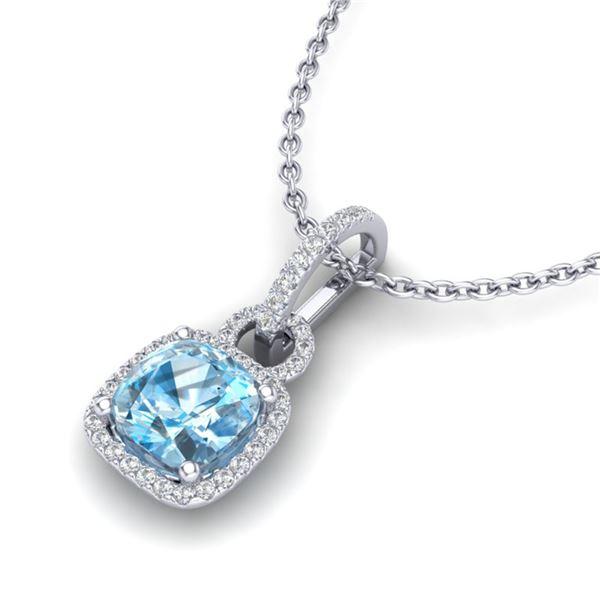 3.50 ctw TOPAZ & Micro VS/SI Diamond Certified Necklace 18k White Gold - REF-52X3A