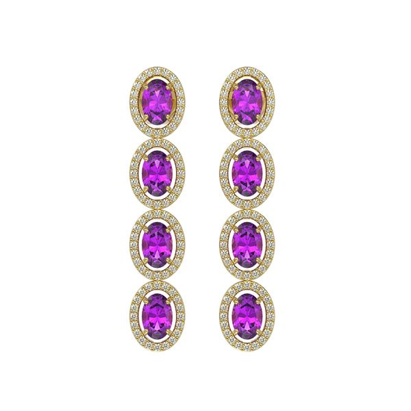 5.56 ctw Amethyst & Diamond Micro Pave Halo Earrings 10k Yellow Gold - REF-143Y6X