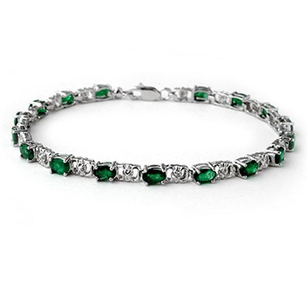 5.02 ctw Emerald & Diamond Bracelet 14k White Gold - REF-80F9M