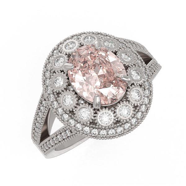 3.95 ctw Certified Morganite & Diamond Victorian Ring 14K White Gold - REF-176K8Y
