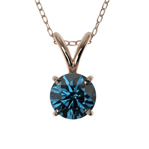 0.50 ctw Certified Intense Blue Diamond Necklace 10k Rose Gold - REF-34N4F