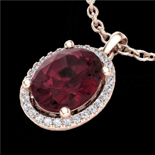 2.50 ctw Garnet & Micro Pave VS/SI Diamond Necklace 14k Rose Gold - REF-29X6A