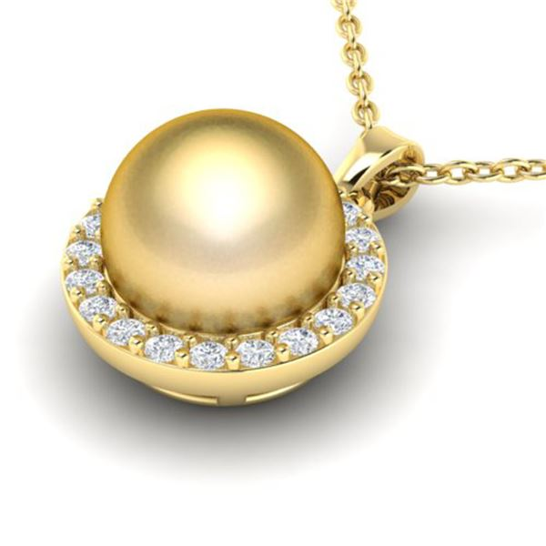 0.25 ctw Micro Pave Diamond & Golden Pearl Necklace 18k Yellow Gold - REF-30X8A
