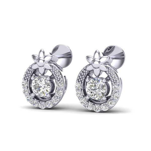 0.40 ctw Micro Pave VS/SI Diamond Certified Halo Earrings 18k White Gold - REF-27Y8X