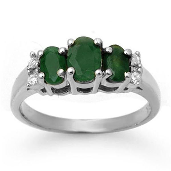 1.08 ctw Emerald & Diamond Ring 14k White Gold - REF-22N2F