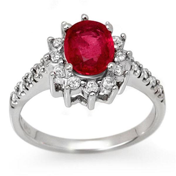 2.45 ctw Pink Sapphire & Diamond Ring 14k White Gold - REF-93R6K