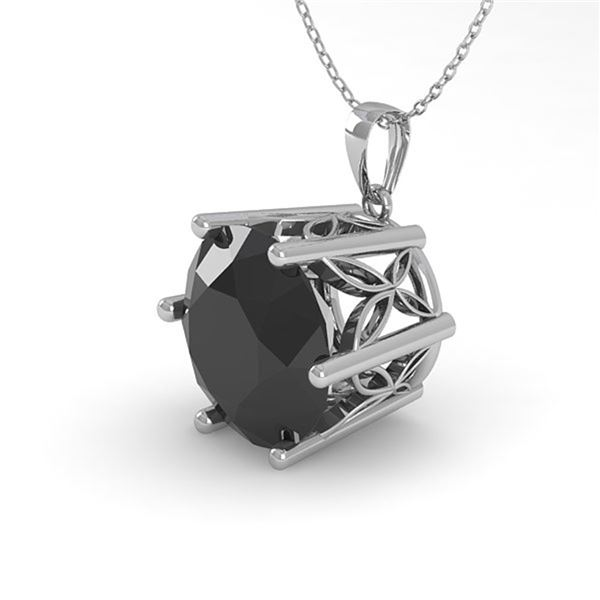 2 ctw Black Certified Diamond Solitaire Necklace 18k White Gold - REF-54A2N