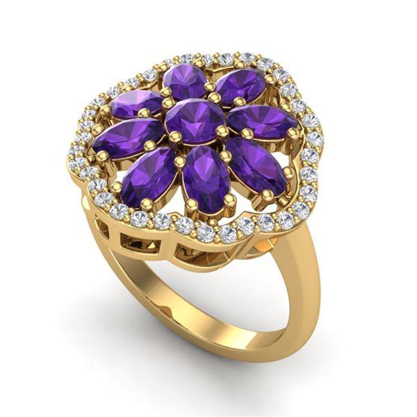 3 ctw Amethyst & VS/SI Diamond Cluster Designer Ring 10k Yellow Gold - REF-49N3F