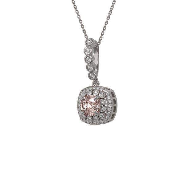 2.15 ctw Morganite & Diamond Victorian Necklace 14K White Gold - REF-86F8M