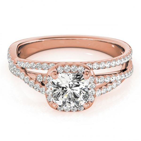 1 ctw Certified VS/SI Cushion Diamond Halo Ring 18k Rose Gold - REF-137Y5X