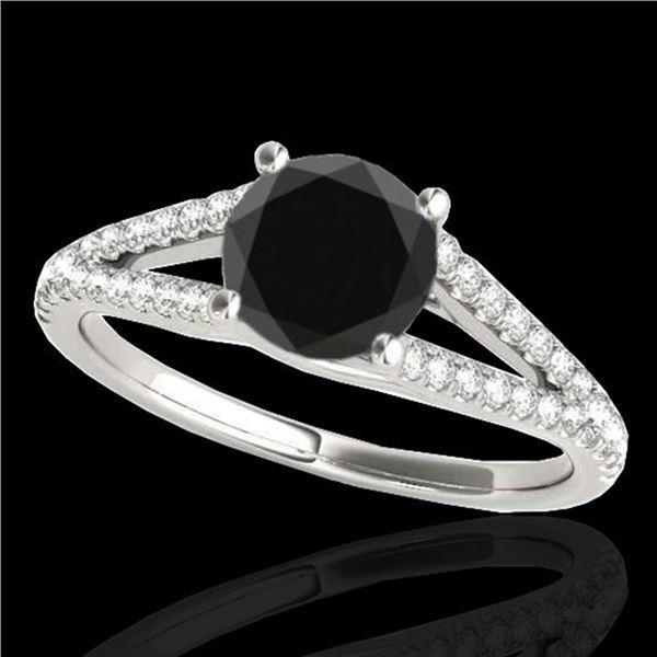 1.75 ctw Certified VS Black Diamond Solitaire Ring 10k White Gold - REF-48F5M