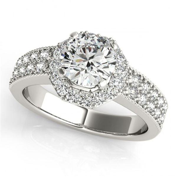 0.9 ctw Certified VS/SI Diamond Halo Ring 18k White Gold - REF-107N8F