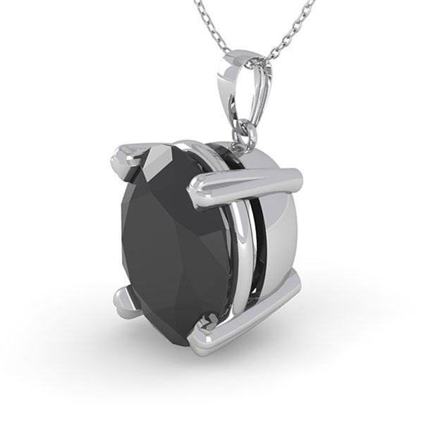 5.0 ctw Oval Black Diamond Designer Necklace 14k White Gold - REF-94Y8X