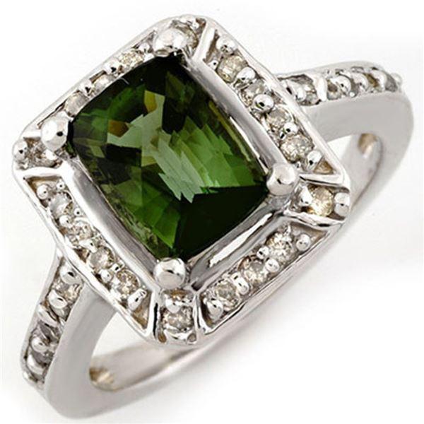 2.40 ctw Green Tourmaline & Diamond Ring 14k White Gold - REF-50W2H