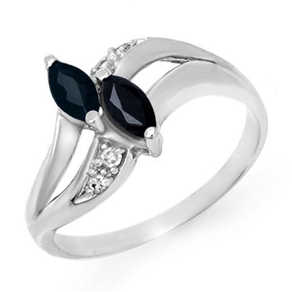 0.74 ctw Blue Sapphire & Diamond Ring 14k White Gold - REF-16F2M