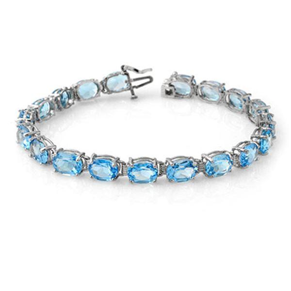 30.0 ctw Blue Topaz Bracelet 10k White Gold - REF-46N6F