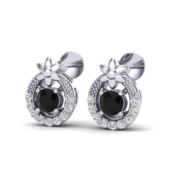 0.47 ctw Black & Micro Pave VS/SI Diamond Halo Earrings 18k White Gold - REF-20K6Y