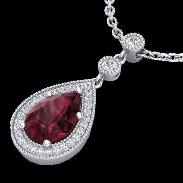 2.25 ctw Garnet & Micro VS/SI Diamond Necklace Designer 18k White Gold - REF-34R3K