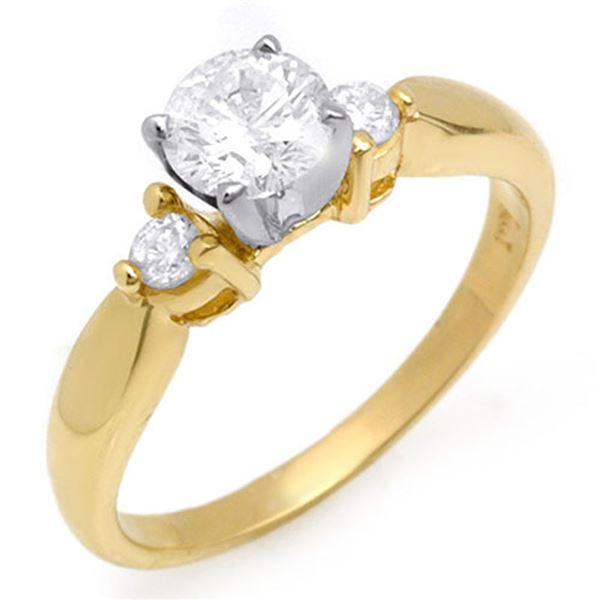 0.75 ctw Certified VS/SI Diamond Ring 14k Yellow Gold - REF-119M5G