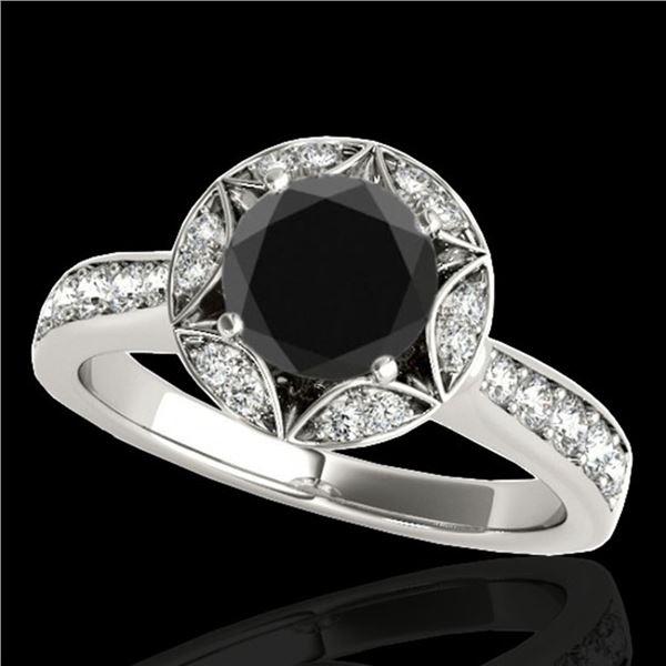 1.5 ctw Certified VS Black Diamond Solitaire Halo Ring 10k White Gold - REF-53M2G