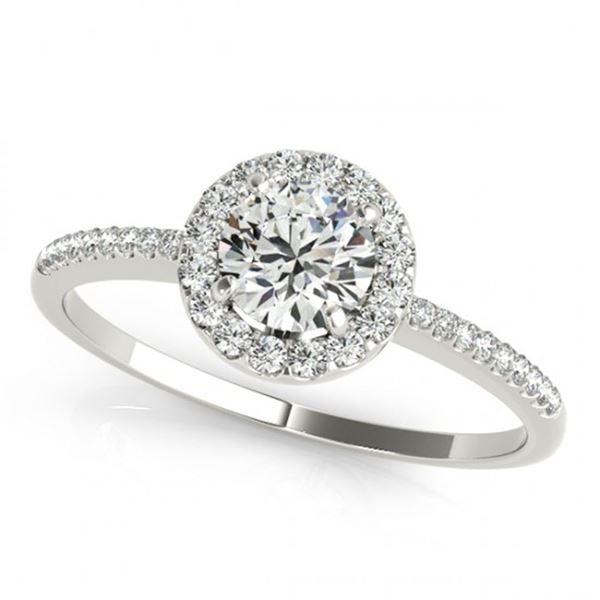 0.75 ctw Certified VS/SI Diamond Halo Ring 18k White Gold - REF-88M6G
