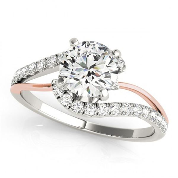 0.85 ctw Certified VS/SI Diamond Bypass Solitaire Ring 18k 2Tone Gold - REF-95N8F