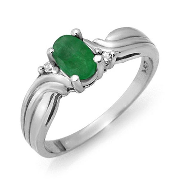 0.54 ctw Emerald & Diamond Ring 18k White Gold - REF-23H2R