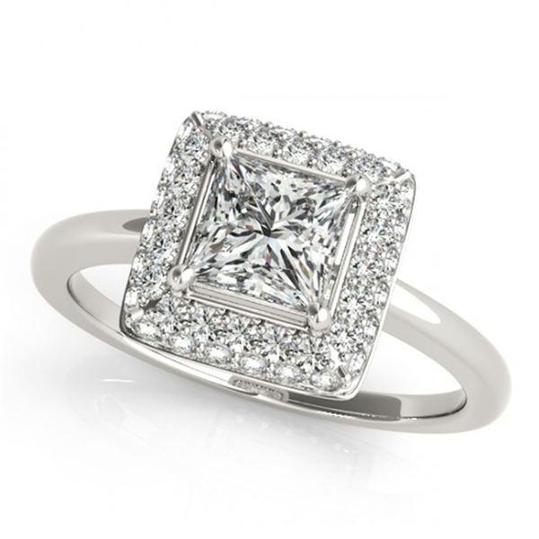 0.8 ctw Certified VS/SI Princess Diamond Halo Ring 18k White Gold - REF-100A9N