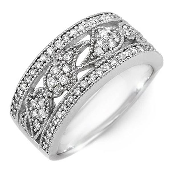 0.75 ctw Certified VS/SI Diamond Ring 10k White Gold - REF-51X8A