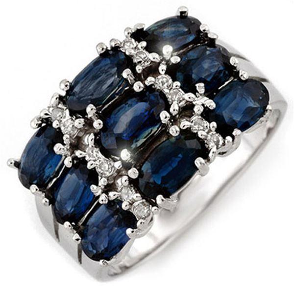 3.15 ctw Blue Sapphire & Diamond Ring 18k White Gold - REF-50A8N