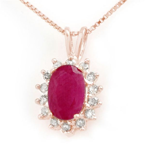 1.90 ctw Ruby & Diamond Pendant 14k Rose Gold - REF-24A5N