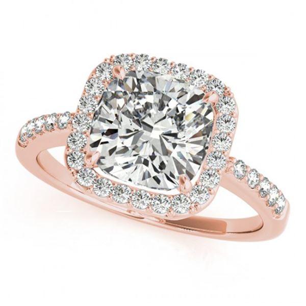 0.6 ctw Certified VS/SI Cushion Diamond Halo Ring 18k Rose Gold - REF-66W8H
