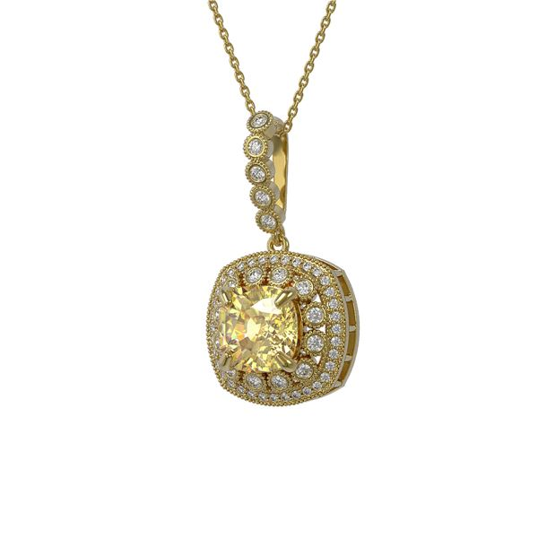 7.23 ctw Canary Citrine & Diamond Victorian Necklace 14K Yellow Gold - REF-209K3Y